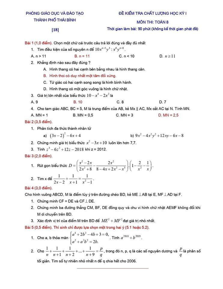 Đề kiểm tra chất lượng HK1 môn Toán 8 TP Thái Bình 2019-2020-17