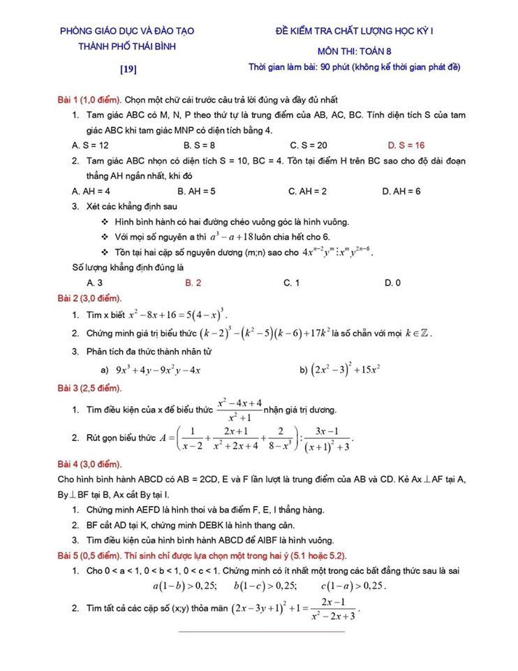 Đề kiểm tra chất lượng HK1 môn Toán 8 TP Thái Bình 2019-2020-18