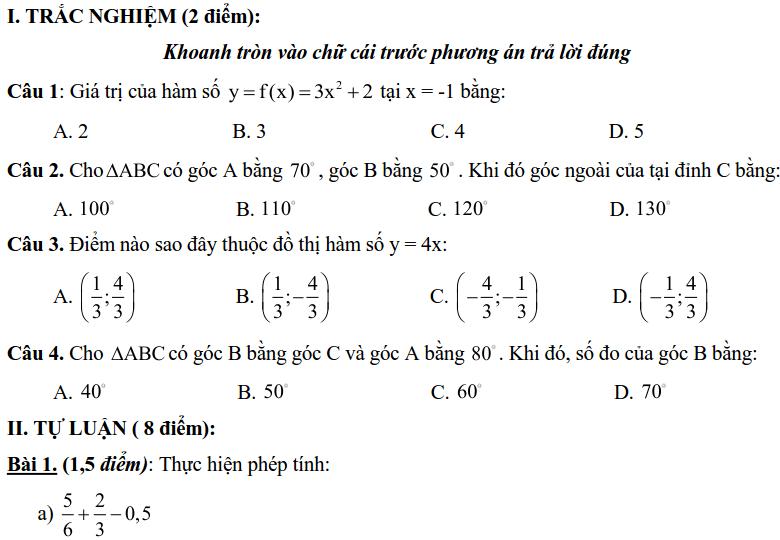Đề kiểm tra HK1 môn Toán 7 huyện Thạch Thất 2018-2019