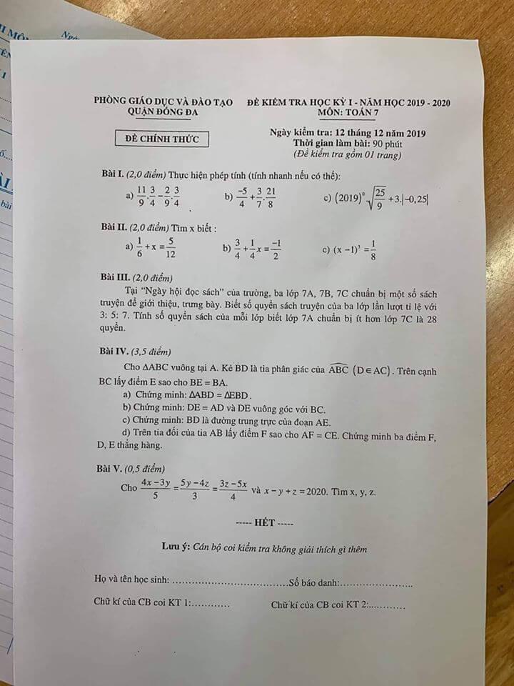 Đề kiểm tra HK1 môn Toán 7 quận Đống Đa 2019-2020