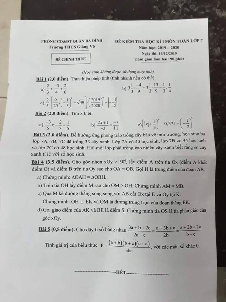 Đề kiểm tra HK1 môn Toán 7 THCS Giảng Võ 2019-2020