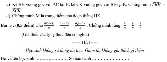 Đề kiểm tra HK1 môn Toán 7 THCS Nguyễn Trãi 2019-2020-1
