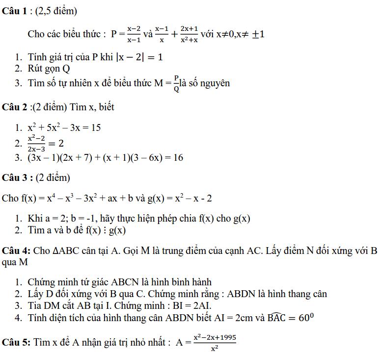 Đề kiểm tra HK1 môn Toán 8 THCS Thanh Xuân 2019-2020