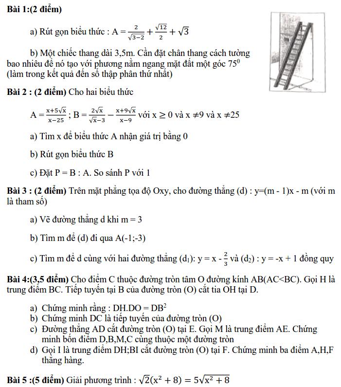 Đề kiểm tra HK1 môn Toán 9 quận Ba Đình 2019-2020 có đáp án
