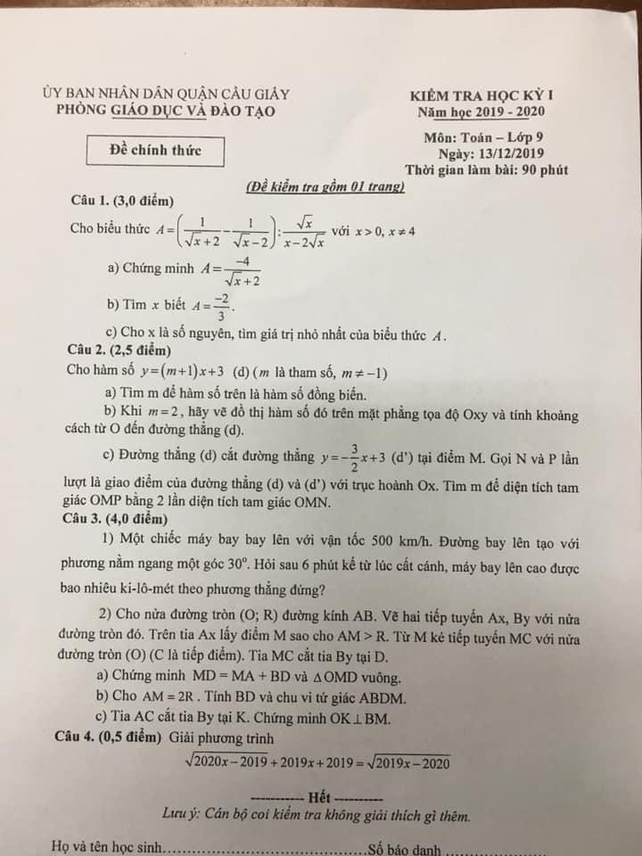 Đề kiểm tra HK1 môn Toán 9 quận Cầu Giấy 2019-2020