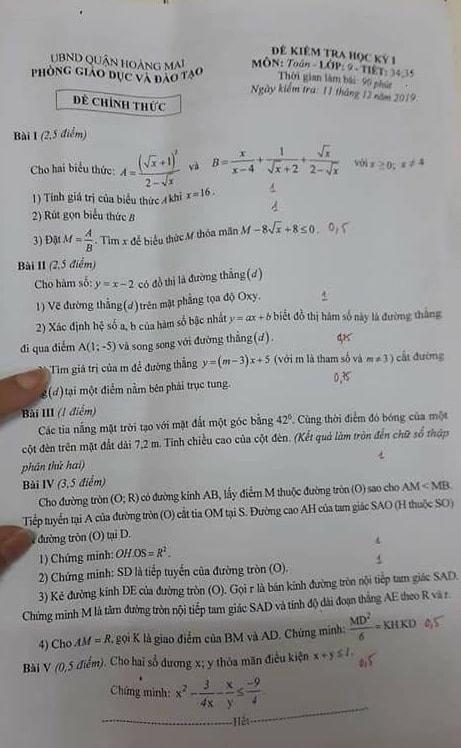 Đề kiểm tra HK1 môn Toán 9 quận Hoàng Mai năm 2019-2020 có đáp án