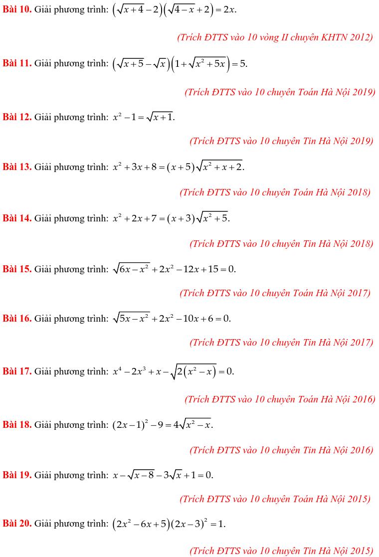 50 bài PT vô tỷ trong các đề thi Toán vào 10 chuyên-1