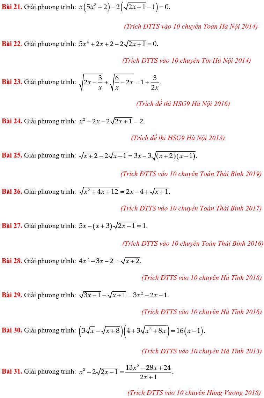 50 bài PT vô tỷ trong các đề thi Toán vào 10 chuyên-2
