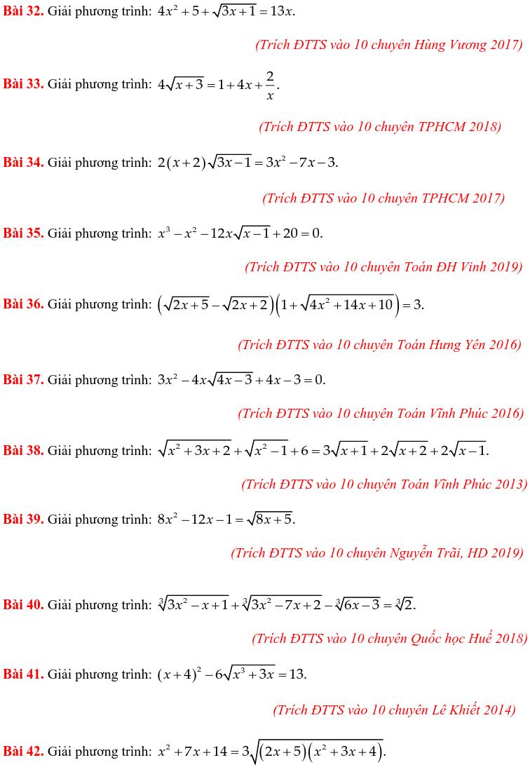 50 bài PT vô tỷ trong các đề thi Toán vào 10 chuyên-3