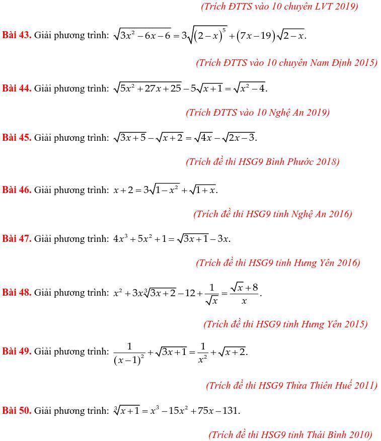 50 bài PT vô tỷ trong các đề thi Toán vào 10 chuyên-4