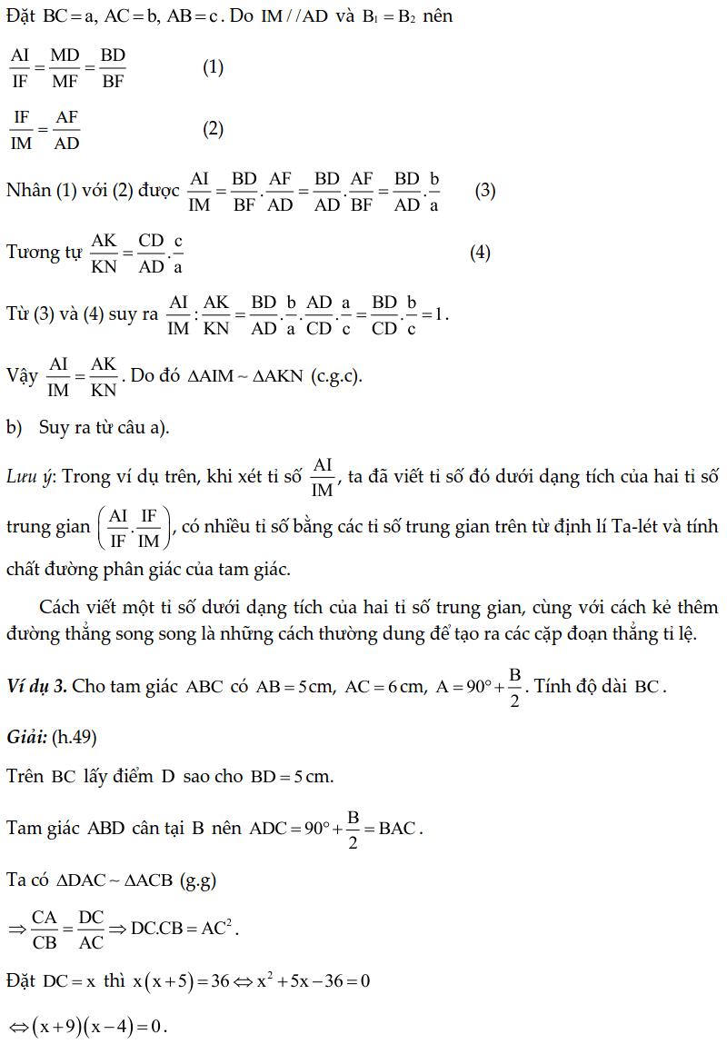 Chuyên đề tam giác đồng dạng - Toán lớp 8-1