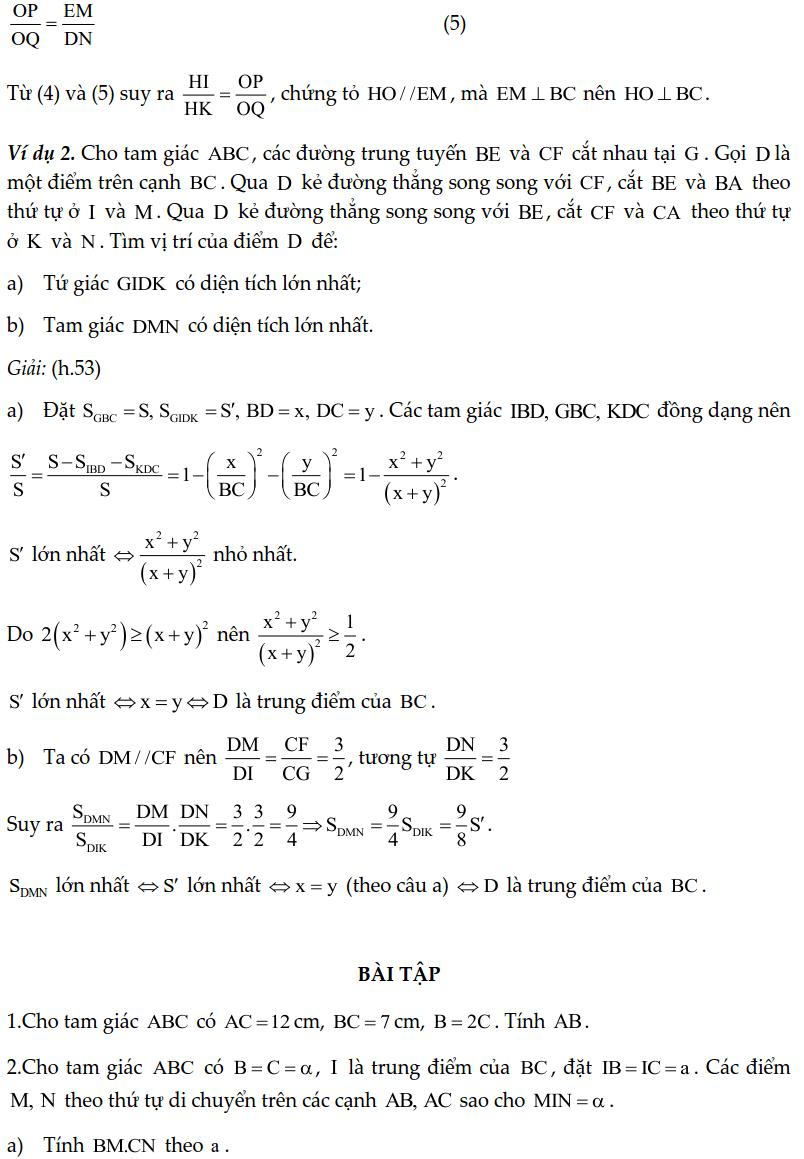 Chuyên đề tam giác đồng dạng - Toán lớp 8-5
