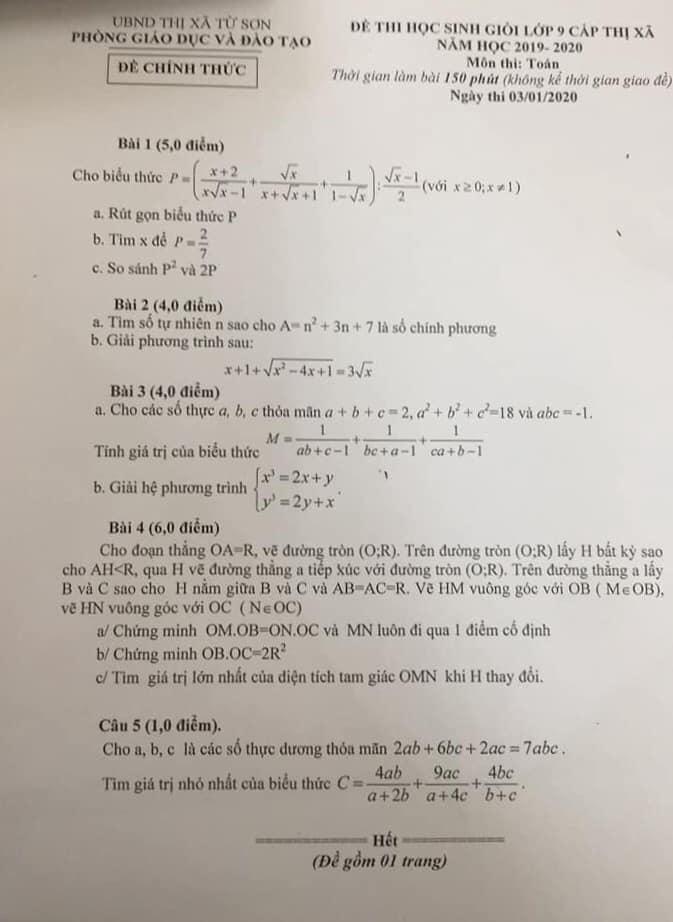 Đề thi HSG Toán 9 cấp thị xã Từ Sơn 2019-2020