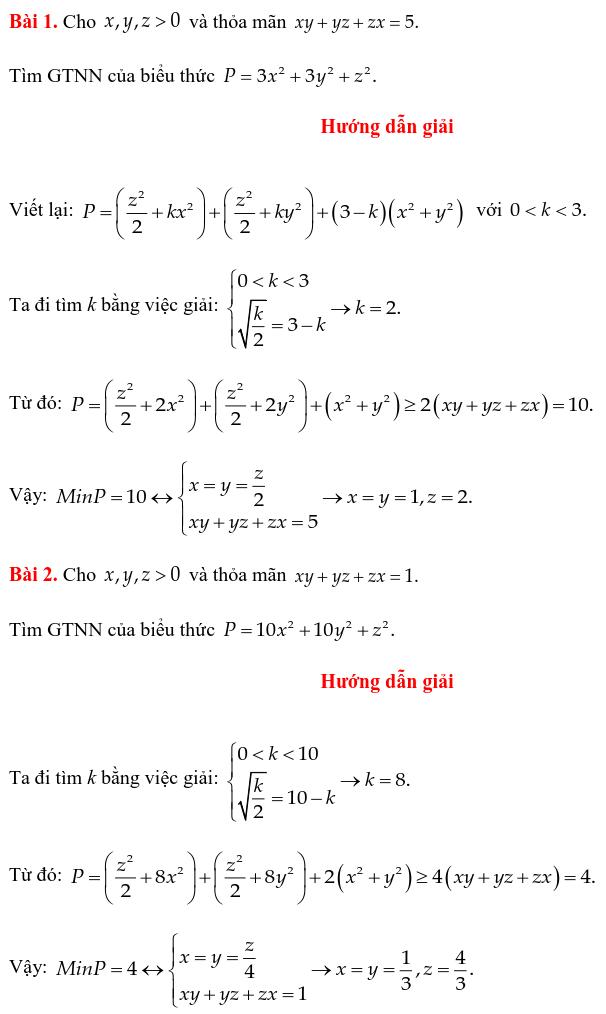 Một số ví dụ chứng minh BĐT bằng phương pháp cân bằng hệ số