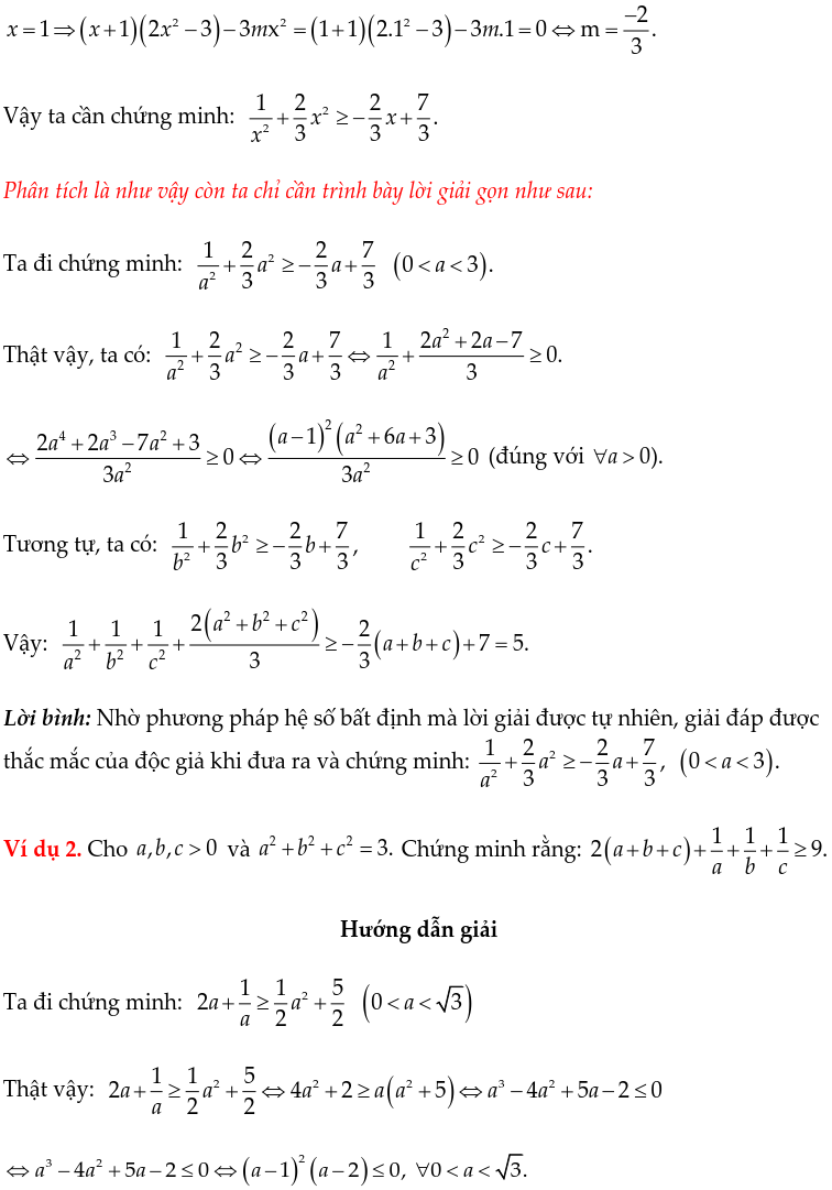 Một số ví dụ chứng minh BĐT bằng phương pháp hệ số bất định UCT-1