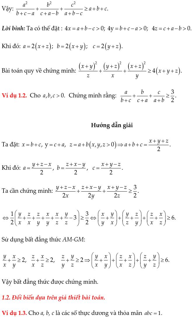 Phương pháp đổi biến chứng minh bất đẳng thức-1