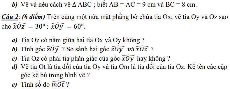 Đề kiểm tra 1 tiết chương 2 - Góc - Hình học 6-1